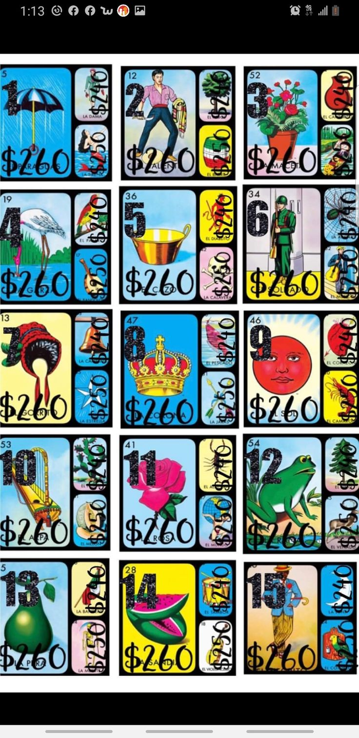 Pin on Loteria cards