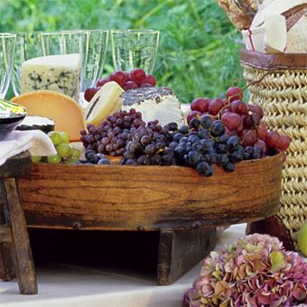 Wood base....Entertaining with fruit and cheese