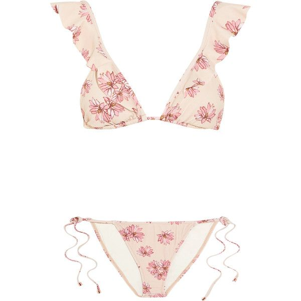 Eberjey Flying Lotus ruffled floral-print triangle bikini (£165) ❤ liked on Polyvore featuring swimwear, bikinis, bikini, swimsuits, bathing suits, floral swimsuit, floral bathing suit, swimsuits two piece, floral print bikini and ruffle bathing suit