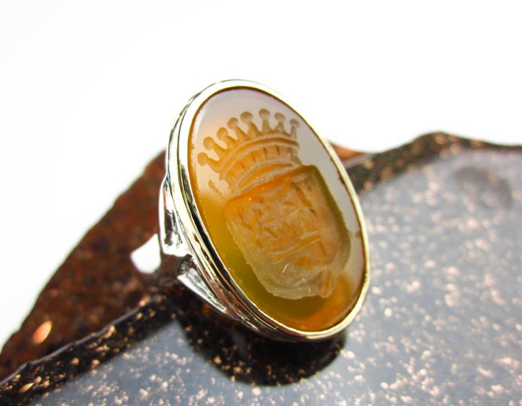 Large Antique Carnelian Heraldic Crest, Signet Ring 18K & Sterling Silver Custom Set, Tampico SF. by TampicoJewelry on Etsy