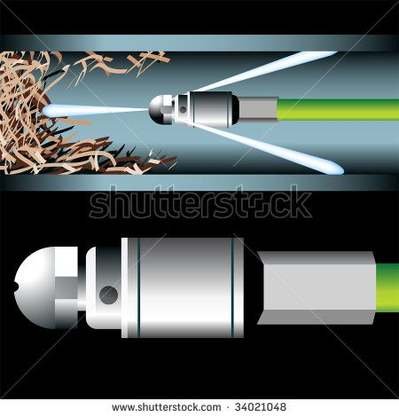 clogged pipe plumbing tool - stock vector