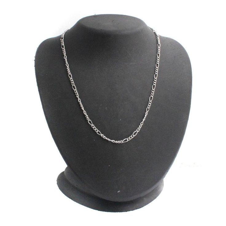 "Steel by Design Stainless Steel 18"" Figaro Chain Necklace N939 + Black Diamond #SteelbyDesign #Chain"