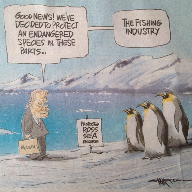 Cartoon sending up the NZ Government's poor performance on the Ross Sea