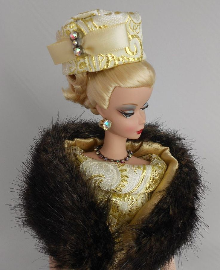 OOAK Handmade Vintage Silkstone Barbie Clothes – Gold Brocade Dress