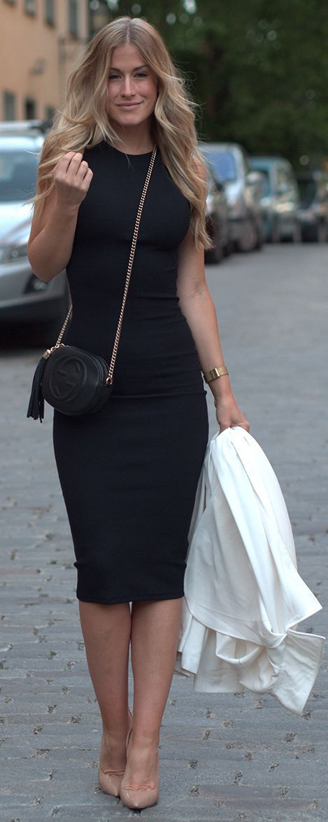 Work Outfit - black pencil dress.