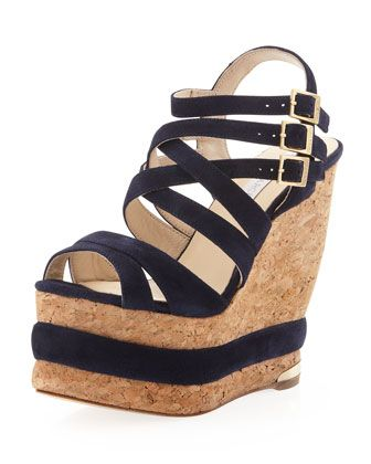 Larina Strappy Triple-Platform Wedge, Navy by Paloma Barcelo at Neiman  Marcus Last Call · Strappy WedgesSandal HeelsStrap SandalsWedge SandalsShoes  ...