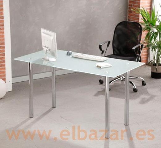 Mesa escritorio oficina recri cristal traslucido patas for Mesa cristal oficina