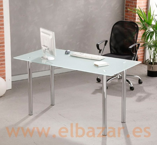 Mesa escritorio oficina recri cristal traslucido patas for Mesa escritorio cristal