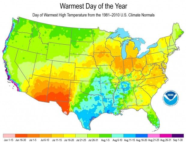 Think It's Hot Now? This Map Shows When Your Area Likely Will Have Its Warmest Day