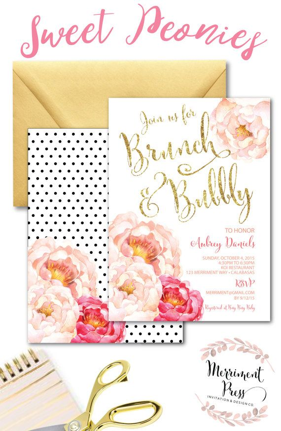 Brunch and Bubbly Invitation // Peonies // by MerrimentPress