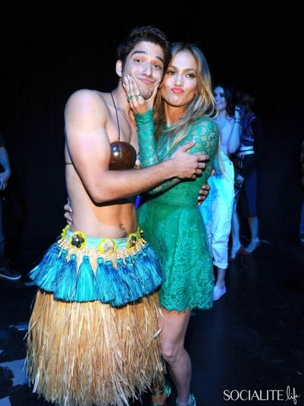 Jennifer Lopez and Tyler Posey share some love backstage at the '2014 Teen Choice Awards' held at the Shrine Auditorium in Los Angeles, California.