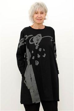 bbd2983637f Moyuru black/grey print cotton jersey tee tunic with long sleeves ...