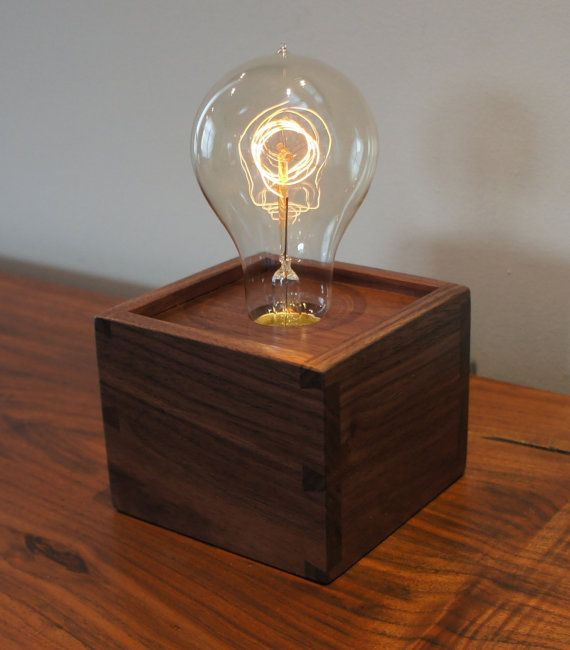 Single bulb edison lamp with dovetailed box made to order