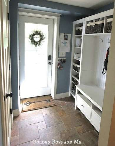 If you're looking to make a big impact on a low budget, the combination of a Hemnes tv unit, two Hemnes bookshelves, and a bridging shelf can be assembled to mimic a built in mudroom.