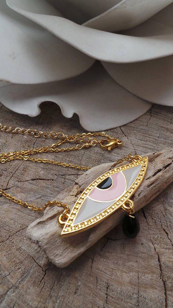 Evil eye choker. Evil eye necklace. Greek evil eye necklace. Evil eye charm necklace. Adjustable necklace.