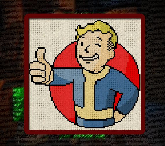 Vault Boy Digital Cross Stitch Pattern 6 x 6 inches instant download from Fallout 4 logo video game pop culture thumbs up DIY size: 6 x 6