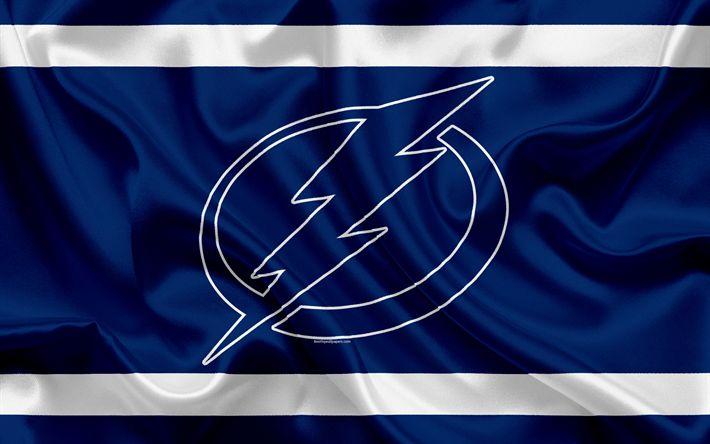 Hämta bilder Tampa Bay Lightning, hockey club, NHL, emblem, logotyp, National Hockey League, hockey, Tampa, Florida, USA