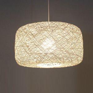 Asian Pendant Lights White 15.7 Inch Diameter Rope Shade