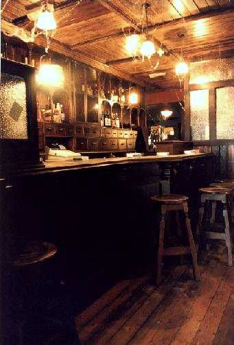 Vintage bar interior - possibly old pharmacy counter?
