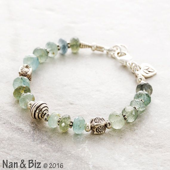 Moss aquamarine bracelet, Thai Karen Hill Tribe silver bracelet, earthy blue green boho bracelet, stackable March birthstone bracelet, gift by NanandBiz