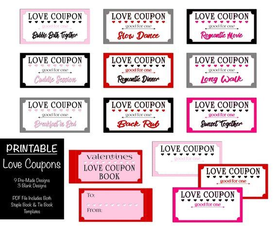 love coupon book printable  valentine u0026 39 s day  romantic