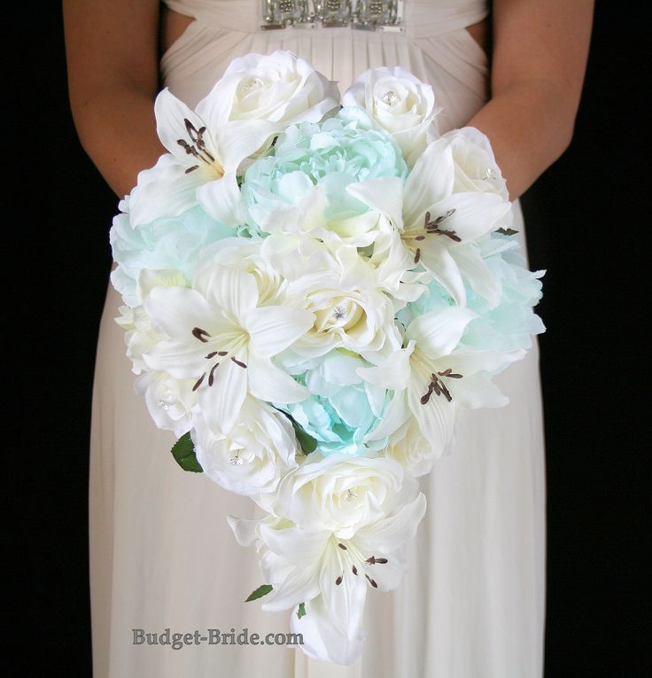 Cascading Tiffany Blue and White Wedding Bouquet with Tiffany Blue peonies, white roses and white lilies.  Silk Wedding Flower Packages starting as low as $100