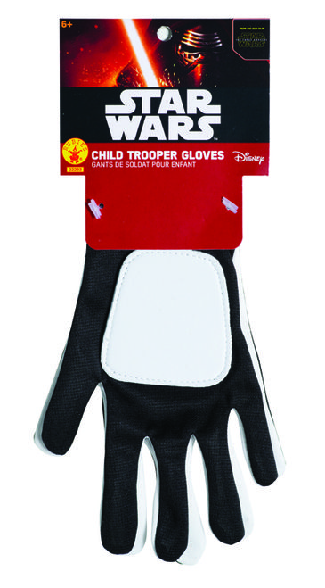 Kids Stormtrooper Star Wars Force Awakens Gloves - Don't leave your hands unprotected from blaster strikes with this fun kids Stormtrooper gloves! Perfect for Halloween, dress up and the movie premier. #YYC #Calgary #Costume #StarWars #Stormtrooper