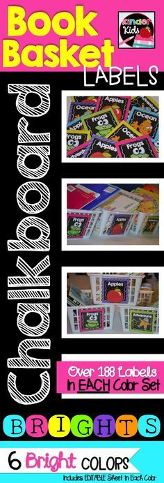 Chalkboard BRIGHTS Classroom Library Book Basket Labels {Organize and Brighten up your class library} {6 Bright Colors with over 188 Labels in each color} {Editable Sheet in Each Color}