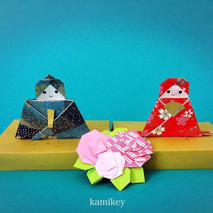 """折り紙ワークショップ@札幌 2月も開催します。今回は雛飾りを作りますよ。※このお雛様は動画未公開作品です 詳しくはブログをご覧ください。「アメブロ カミキィ」で検索すると見つかると思います。  「シンプルなひな台」と「八重桜」の作り方動画はプロフィールにリンクがあるYouTube""""のkamikey origami """"チャンネルでご覧ください ✳︎ Hina Dolls (no tutorial ) Simple tray Double cherry blossoms  Designed by me  tutorial on YouTube"""" kamikey origami""""  #折り紙#origami #ハンドメイド#kamikey"""