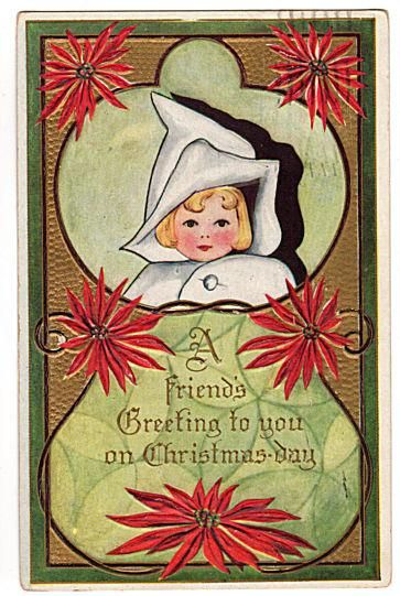 This sweet original 1910s Embossed vintage Christmas Greeting postcard features a baby girl in a white bunting bag.  Gold background with green border and red P
