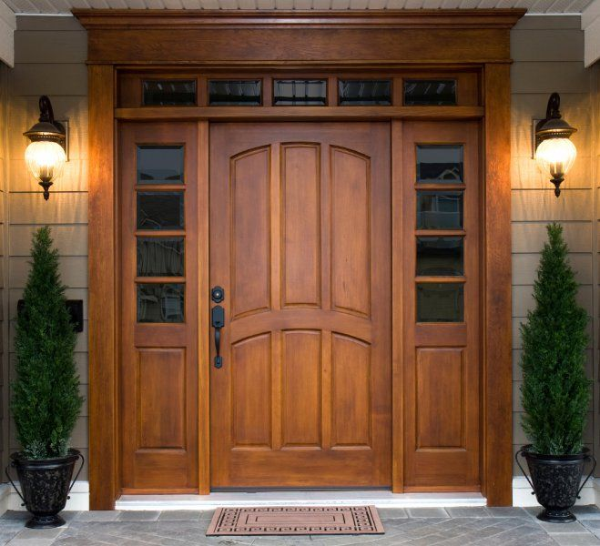 Wood front ent... Wood Front Door With Sidelight Solid wood craftsman door