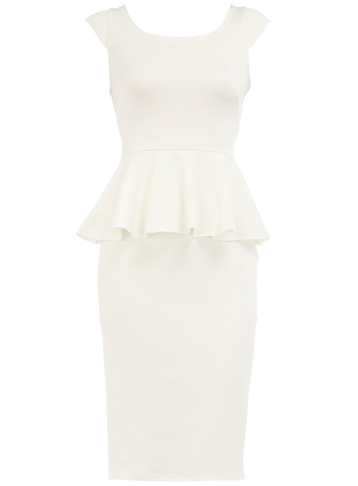 Cream scuba peplum dress $59.00