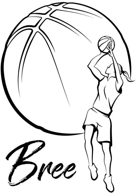 Basketball Girl Vinyl Aufkleber personalisierte Wandkunst Aufkleber Ihren benutzerdefinierten Namen Personalisierung Sport Schablone abnehmbare Fans Wandbild Sport Geschenk   – Cricut