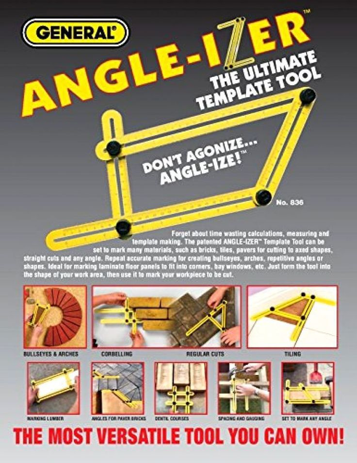 Repeat accurate marking for creating bull's eyes, arches, repetitive angles or shapes. For professionals, the Angle-Izer can used to make bulls eyes, arches and plumb cuts on roof joists. For the do-it-yourselfer, use the Angle-Izer to help lay a brick patio or tile floor. | eBay!