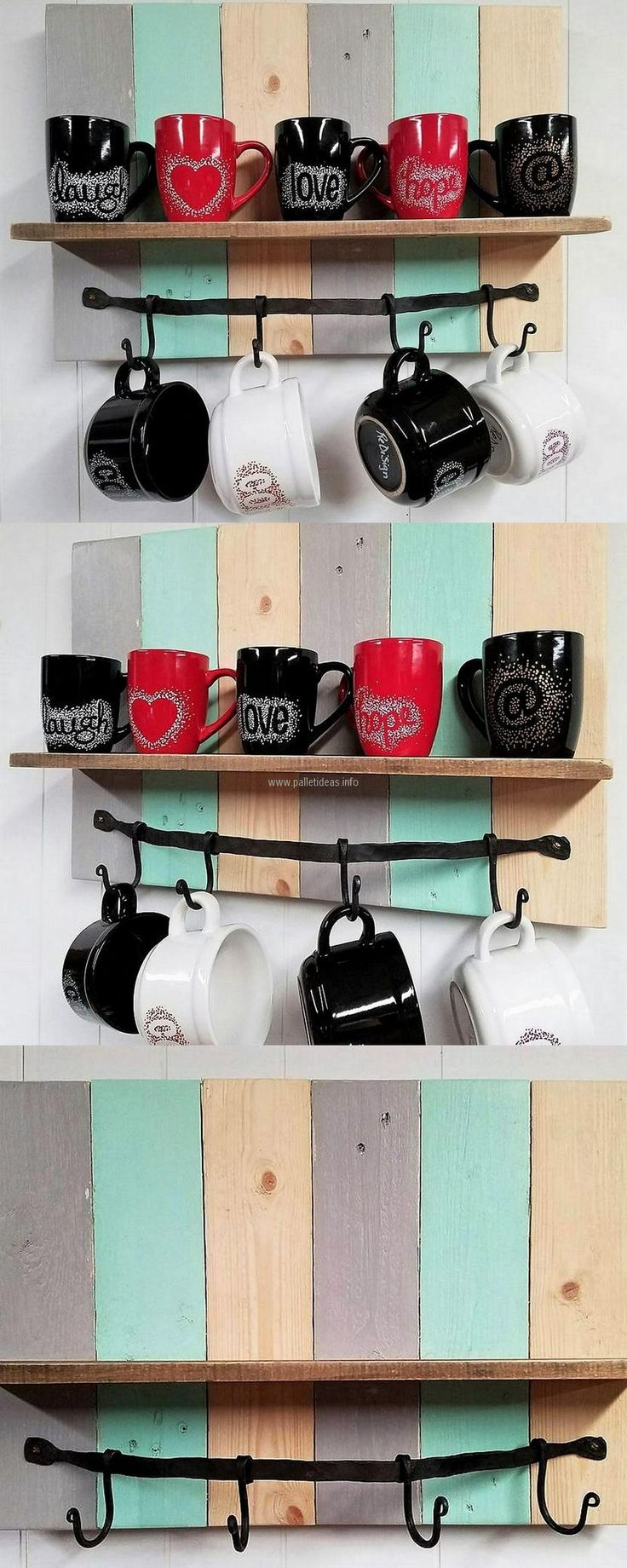 Kitchen should be decorated well because the family members spend a lot of time there for having meals, so the wooden pallet shelves are good to create and attach to the walls for placing anything to adorn the area. Here you can see the mugs of different colors look good, it is not necessary to place the mugs, anything else can also be placed.