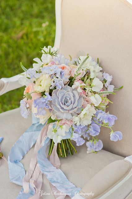 Blue, cream and pink bouquet