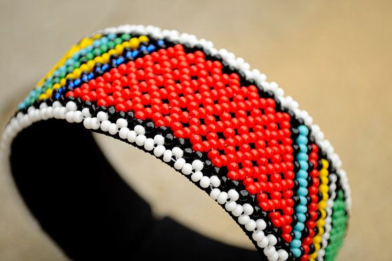 African Beaded Cuff BangleStatement Cuff by akwaabaAfrica on Etsy
