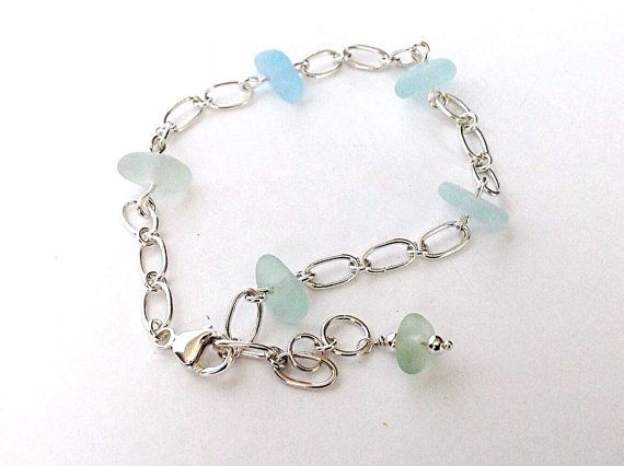 sea glass aqua pin seaglass silver sterling anklet starfish beach