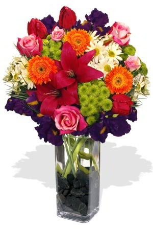 Exuberant    Can't decide on what flowers you would like to send? You can't go wrong with this generous and colourful bundle of Chrysanthemums, Gerberas, Sims, Roses, Iris and more! With its diversity and exuberance, it is uniquely suited to the undecided. $120.42