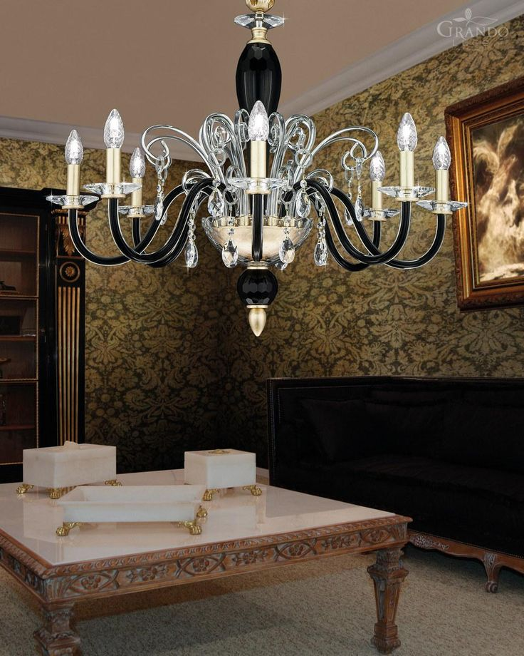 120/8 CH gold leaf black crystal chandelier with Swarovski Elements crystal. - GrandoLuce