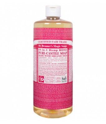 Rose Liquid Soap es un jabón multifuncional 100% natural de Dr.Bronner's elaborado con aceites esenciales naturales, tiene un olor tradicional, elegante y romántico. Los jabones líquidos de Dr.Bronner's son multifuncionales. Descubre todos sus usos en consejos. 944ml.