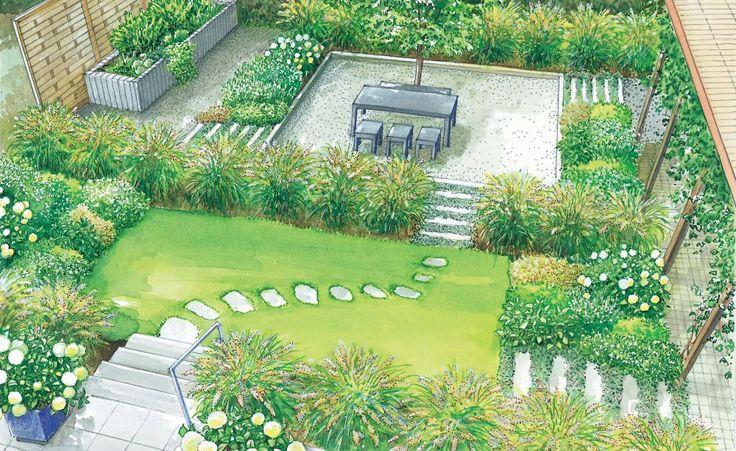Unsere zweiter Gestaltungsidee teilt den Garten in verschiede Räume und verbindet diese mit Wegen aus Granit-Palisaden