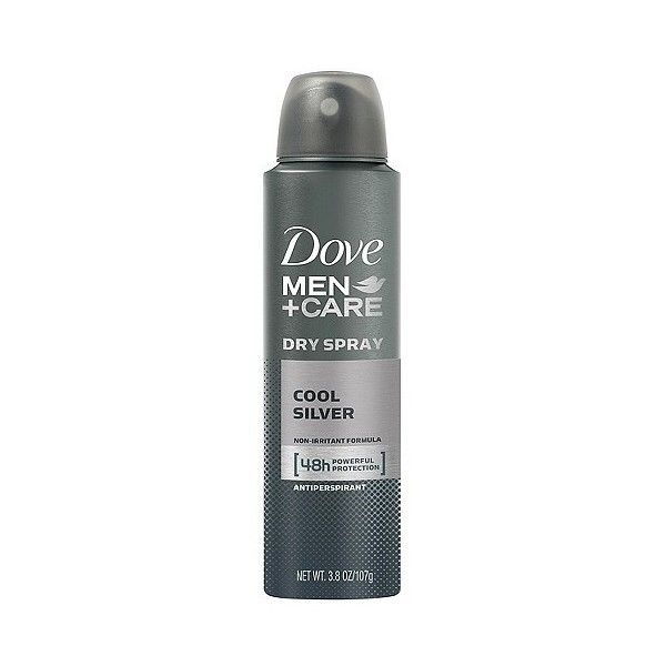 Cool Silver Dry Spray Antiperspirant . oz, Dove Men+Care ($4.19) ❤ liked on Polyvore featuring men's fashion, men's grooming, men's deodorant and mens grooming