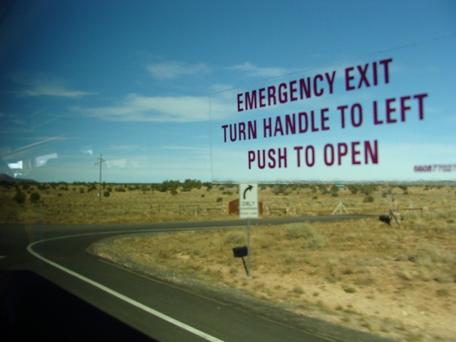 Emergency Exit turn handle to left push to open, Las Vegas, NV