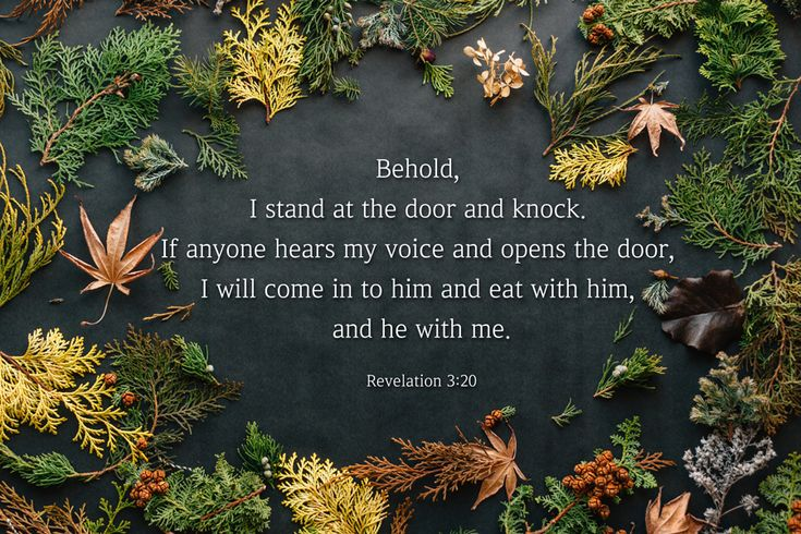[Revelation 3:20 ESV] ehold, I stand at the door and knock. If anyone hears my voice and opens the door, I will come in to him and eat with him, and he with me.