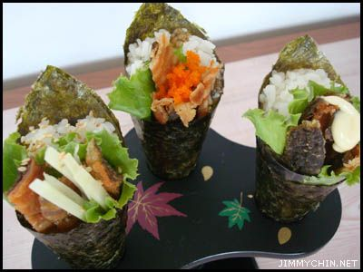 Hand Roll Tuna Palm-sized snack made of Rice Seafood/Veg wrapped in a Seafood cone (Cucumber instead of Seaweed- Extra R10)  Contact Long Fen Chinese Restaurant : 044-690 5570
