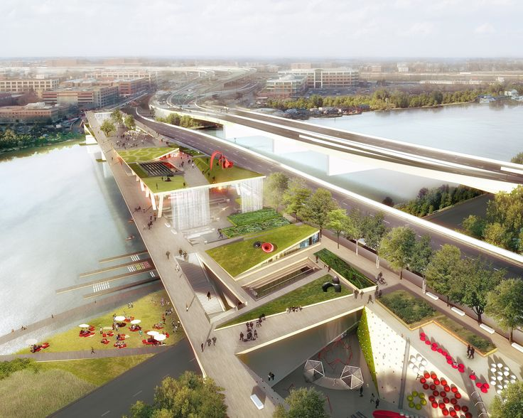 Image 1 of 29 from gallery of OMA + OLIN Selected to Design D.C.'s 11th Street Bridge Park. Photograph by OMA & Luxigon