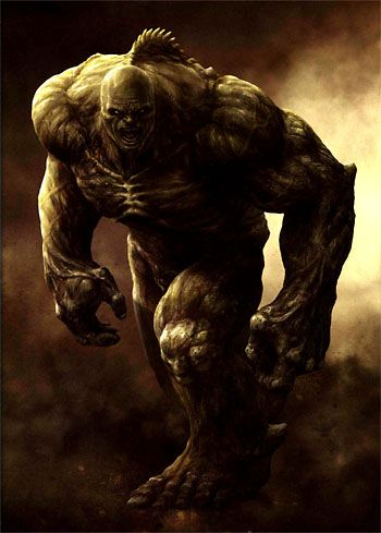 """The Abomination (Emil Blonsky alias Agent R-7) (Human/Mutate) (Zagreb, Yugoslavia) Professional Criminal; former Spy, Secret Agent, Fugitive, University Professor. Superhuman strength (can lift in excess of 200 tons, jump 870 feet in the air, leap 2 miles) stamina, durability (can withstand extreme temperatures from -175 degrees F to 3,500 degrees F)  Regenerative healing factor. Underwater breathing. Formidable hand-to-hand combatant. 6' 8"""" tall."""