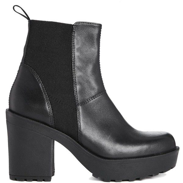 Vagabond Libby Black Leather Chelsea Ankle Boots (2.700 UYU) ❤ liked on Polyvore featuring shoes, boots, ankle booties, black, vagabond boots, leather chelsea ankle boots, chelsea ankle boots, chelsea bootie and real leather boots