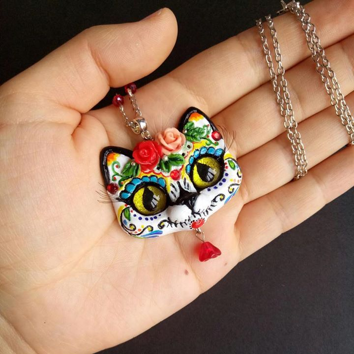 Day Of the Dead sugar skull kitty ooak polymer clay pendant by FleurDeLapin